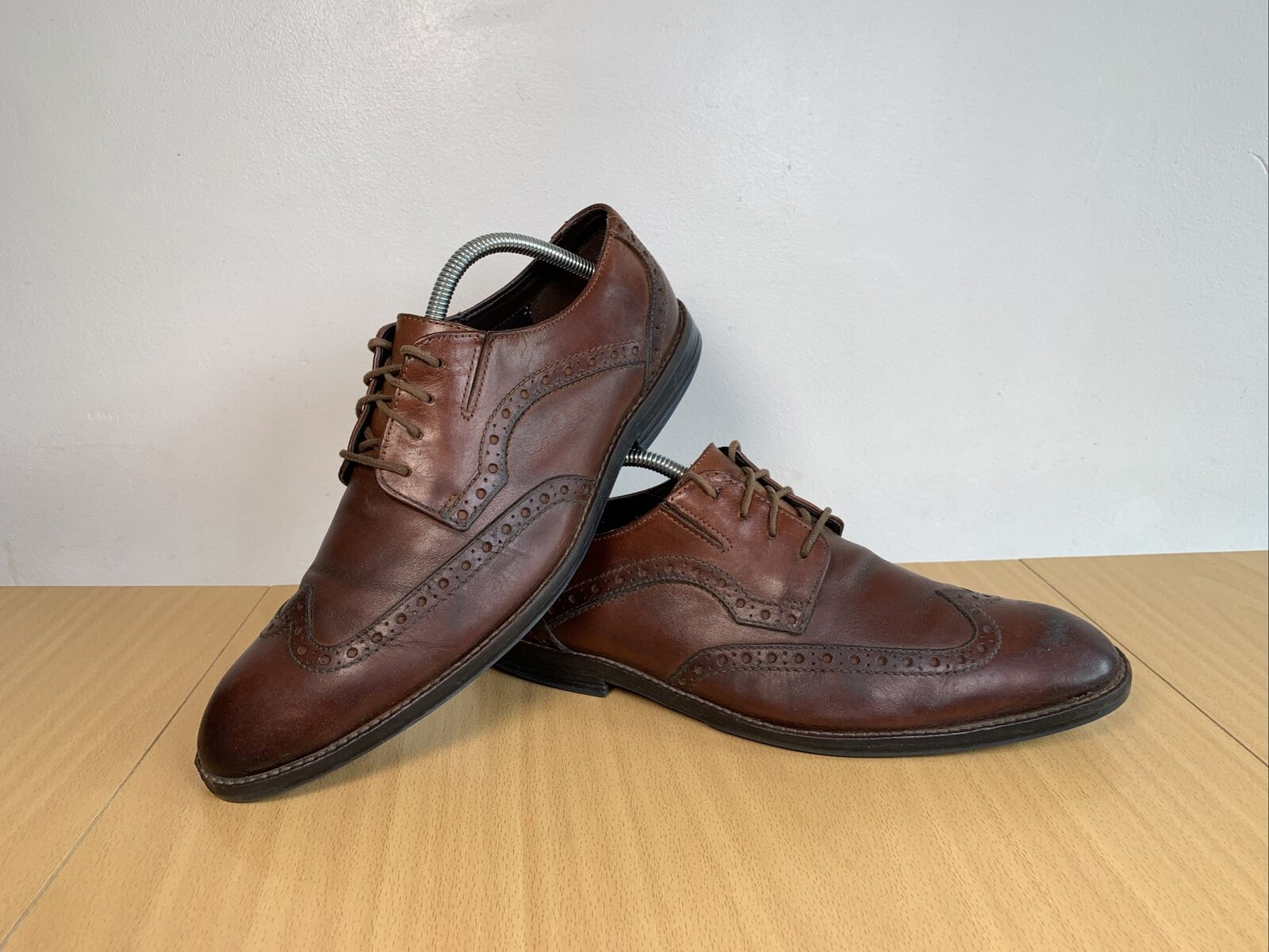 Clarks Tor England Brown Leather Men's Shoes Size UK 8 EU 42