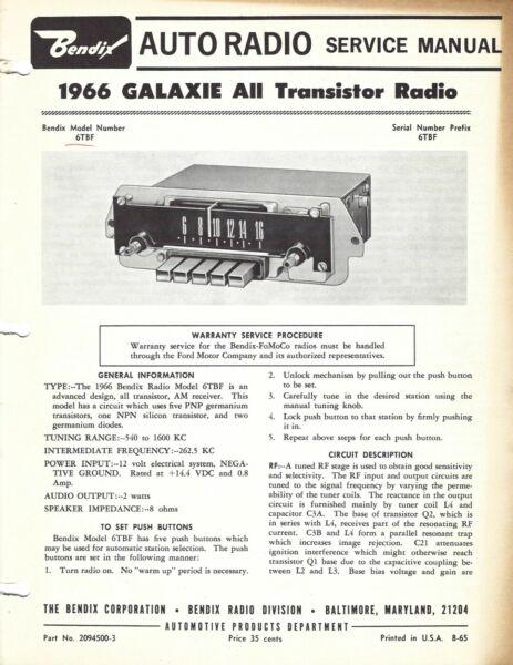 Helder Bendix Auto Radio Service Manual 1966 Galaxie All Transistor Radio