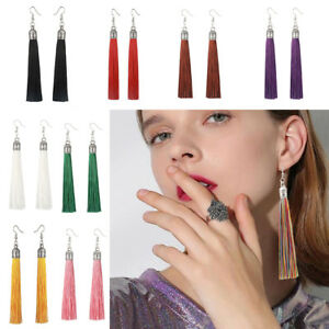 Fashion-Women-Boho-Long-Fringe-Tassel-Ear-Stud-Drop-Dangle-Hook-Earrings-Jewelry