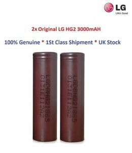 2x Genuine LG HG2 Rechargeable Battery 18650 3000mAH For All Vaping Mod , UK
