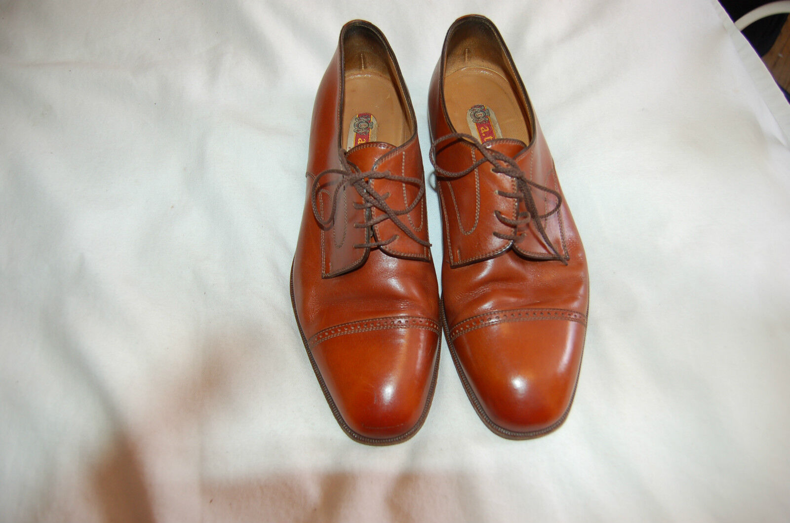 A. Testoni Brown Leather Lace Up shoes Size 8 1 2 M Made in