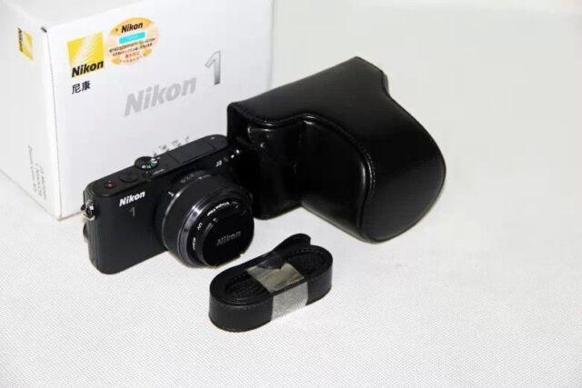 Black Protective Leather Camera Case Bag for Nikon 1 J4 J3 with 11-27.5mm Lens