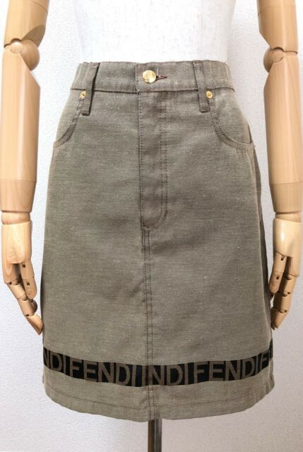 Authentic FENDI Jeans Logo Line Skirt Size I44 US30