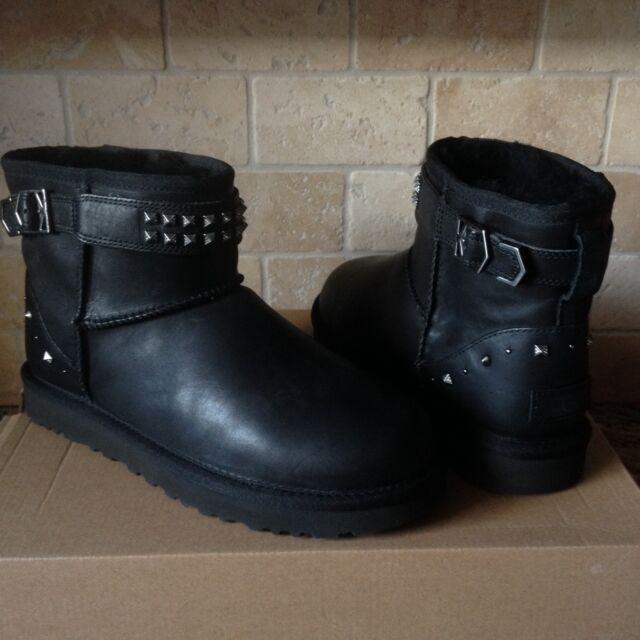 777abcda431 UGG Neva Deco Studs Swarovski Bling Black Leather Mini Boots Size US 10  Womens