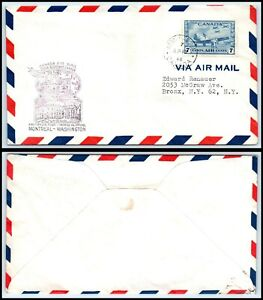 1946 CANADA First Flight Air Mail Cover- Montreal to Washington USA N13