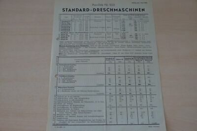 200198) Standard - Dreschmaschine Preisliste - Prospekt 05/1953