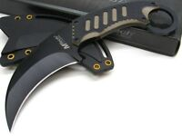 Mtech Black Tan Straight Karambit Full Tang Fixed Blade Knife + Sheath Mt-665bt