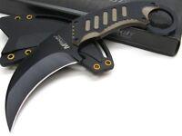 Mtech Black Tan Straight Karambit Full Tang Fixed Blade Knife + Sheath Mt-665bt