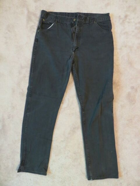 Vtg 70s/80s KEY Denim JEANS Mens 38x36 Made In USA Thick Duck Black Work Wear