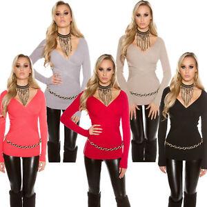 Wickel-Pulli-Pullover-Ripp-Strick-Sweater-Wickeleffekt-Buero-elegant-warm-S-34-36
