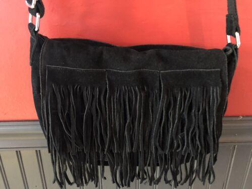 Black Suede Fringe Bag