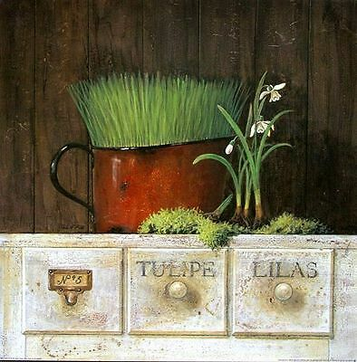 Arnie Fisk: Lilas Stillleben Fertig-Bild 30x30 Wandbild Küche Landhaus Shabby