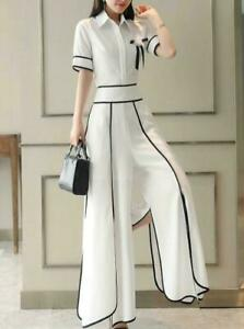 Women-039-s-Shirt-High-Waist-Wide-Leg-Loose-Pants-Short-Sleeve-Tops-Chiffon-Suits-05