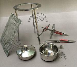 6-Piezas-Kit-tripode-ALCOHOL-Spirit-Lampara-Cool-CUP-x-3-Yo-Agarre-PINZAS-DE