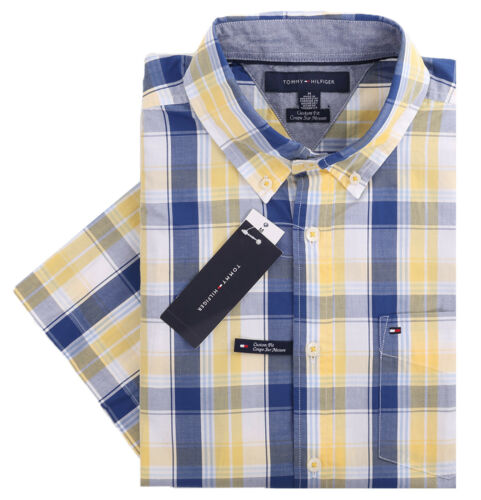 Tommy Hilfiger Men/'s Short Sleeve Button-Down Plaid Casual Shirt $0 Free Ship