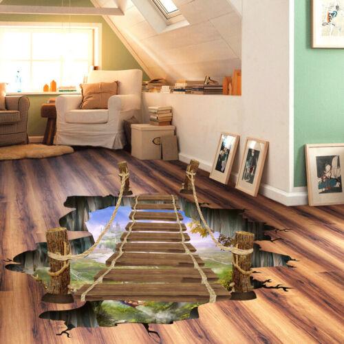 3D Bridge Printed  Wall Sticker Floor Removable Mural Decal Home Decor 90x60cm