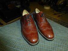 Vintage HANOVER LB SHEPPARD Brown Leather Wing Tip Dress Shoes Mens Sz 8.5 VG !