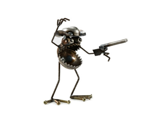 Sugarpost Scrap Metal Art Gnome Be Gone Mini Hunter Sculpture Item # 1083