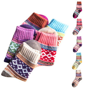 Winter Women Ladies Girls Ethnic Style Thick Socks Warm Wool 1Pair Socks