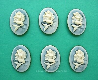 6 WHITE on BLACK MERMAID holding a Seashell Vertical 25mm x 18mm Craft CAMEOS