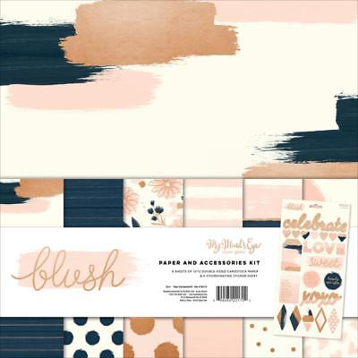 12x12 Blush Paper Kit My Mind's Eye MME Collection w Stickers Rose Gold Foil
