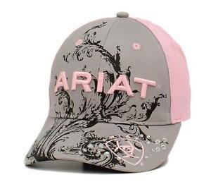 Ariat-Womens-Hat-Baseball-Cap-Scroll-Logo-One-Size-Gray-Pink-1502606