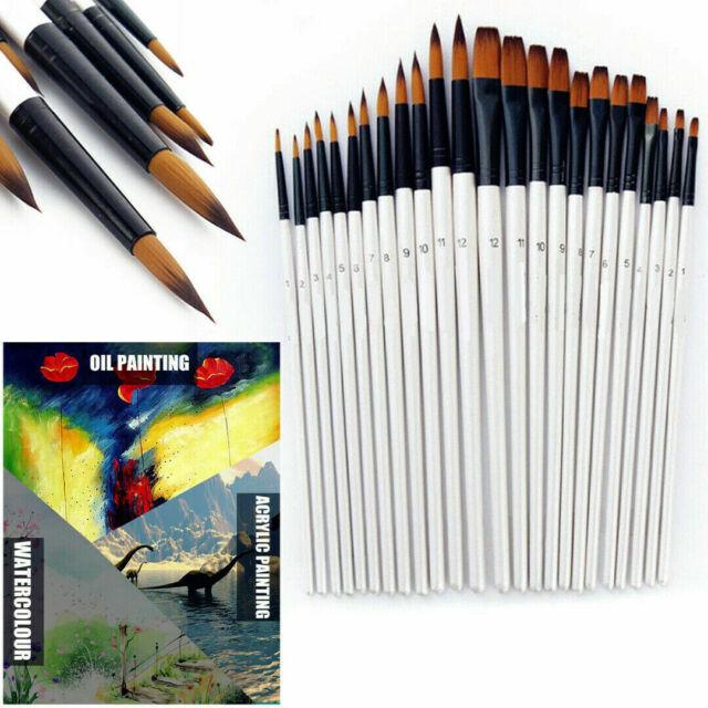 12pcs Artist Paint Brushes Set Acrylic Oil Watercolor Painting Craft Art Kit New