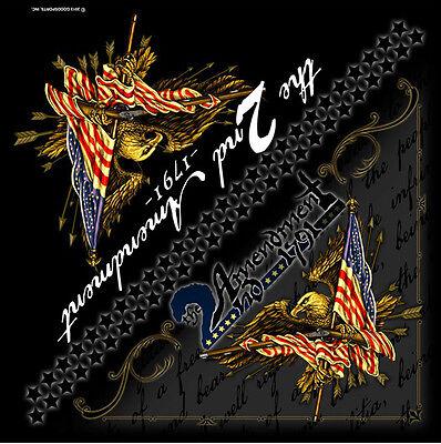 "2nd Amendment America/'s Original Biker Bandana 21/""x21/"" BIKER Doo Rag BAN-0051"