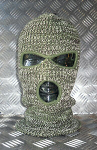 3 Three Very Warm ARMY GREEN Hole Knitted Balaclava Brand New