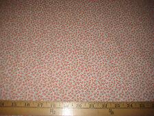 "Coral/Aqua Mini Floral 100% Cotton Fabric 45"" Wide BTY"