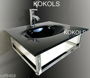 Image Is Loading Bathroom Vanity Furniture Black Tempered Glass Bowl Vessel