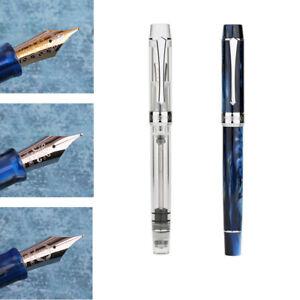 Penbbs 500-120SF Blue Acrylic Piston Fountain Pen F Nib Office Writing Gift #B9