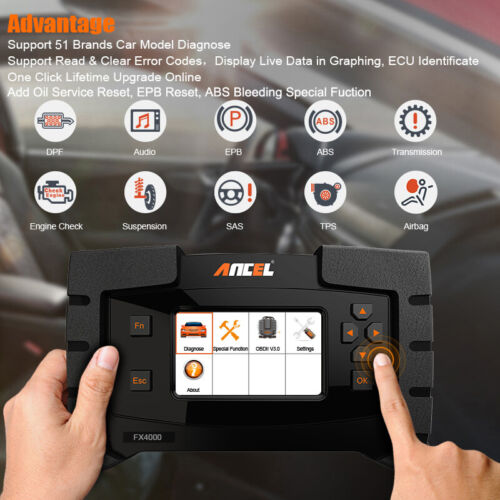 OBD2 Full System Diagnostic Scanner ABS Airbag SAS Oil Service Reset Scan Tools
