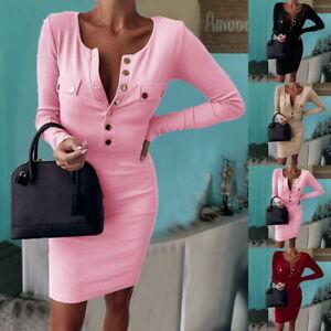 Damen-Strickkleid-Winter-Sweater-Langarm-Pullover-Bodycon-Kleid-Minikleid-L-P