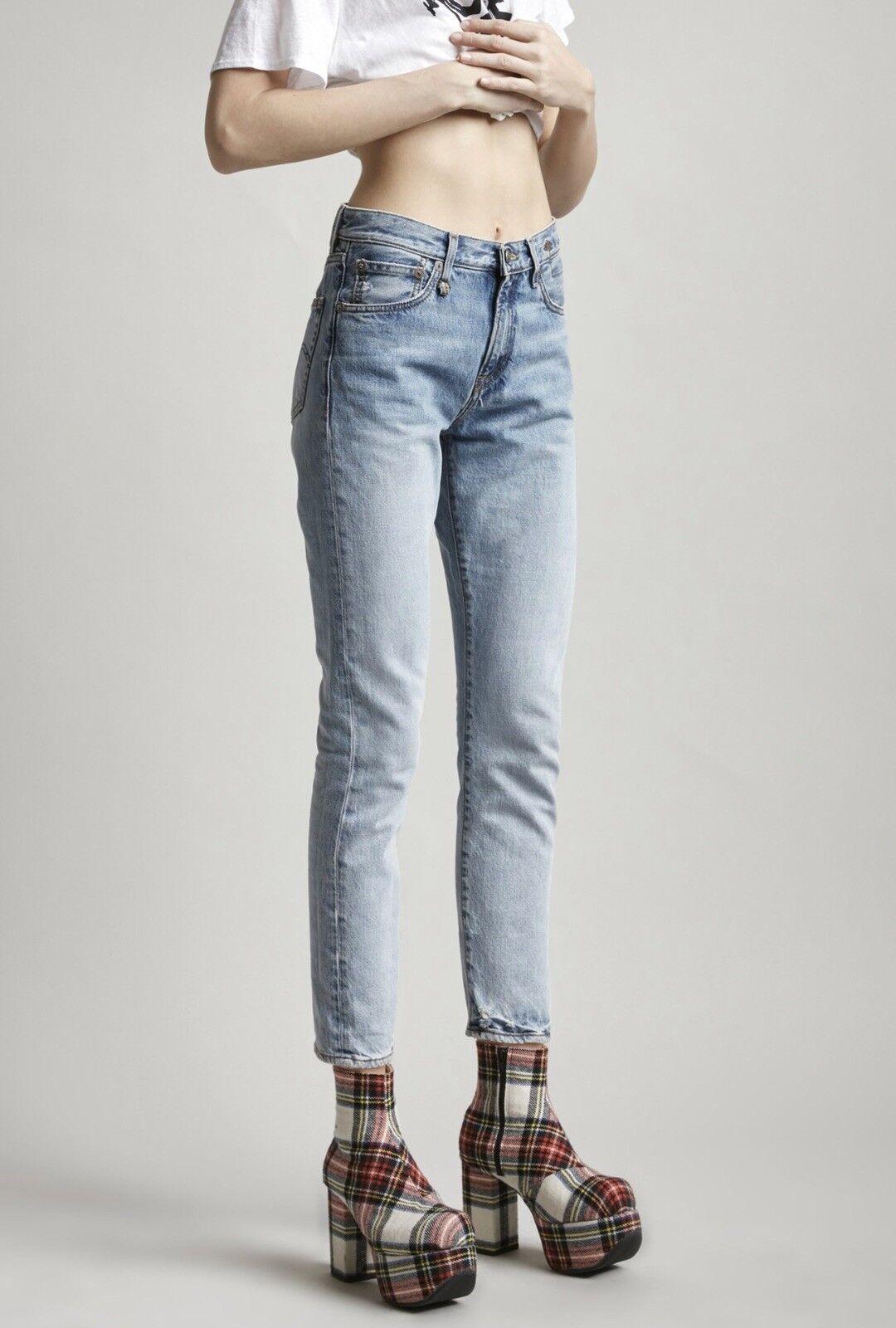 R13 Denim MILF Jeans Size 26 High Waist Light bluee 100% Cotton Distressed NWT