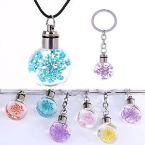 Gift-Christmas-Tree-Dry-Flower-Pendant-Necklace-Keyring-Chocker-Key-Chain-LED