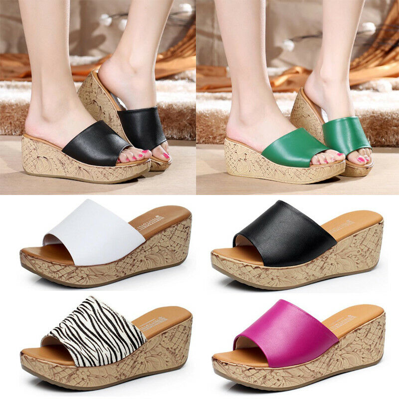 NEW Fashion Women Open-Toe Platform Slipper shoes Wedge Heel Sandals Mules Party