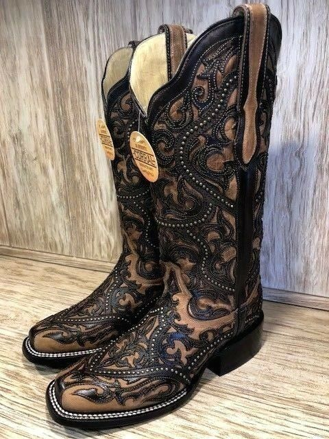 Corral Women's Full Overlay & Studs Brown Square Toe Western Boots G1330