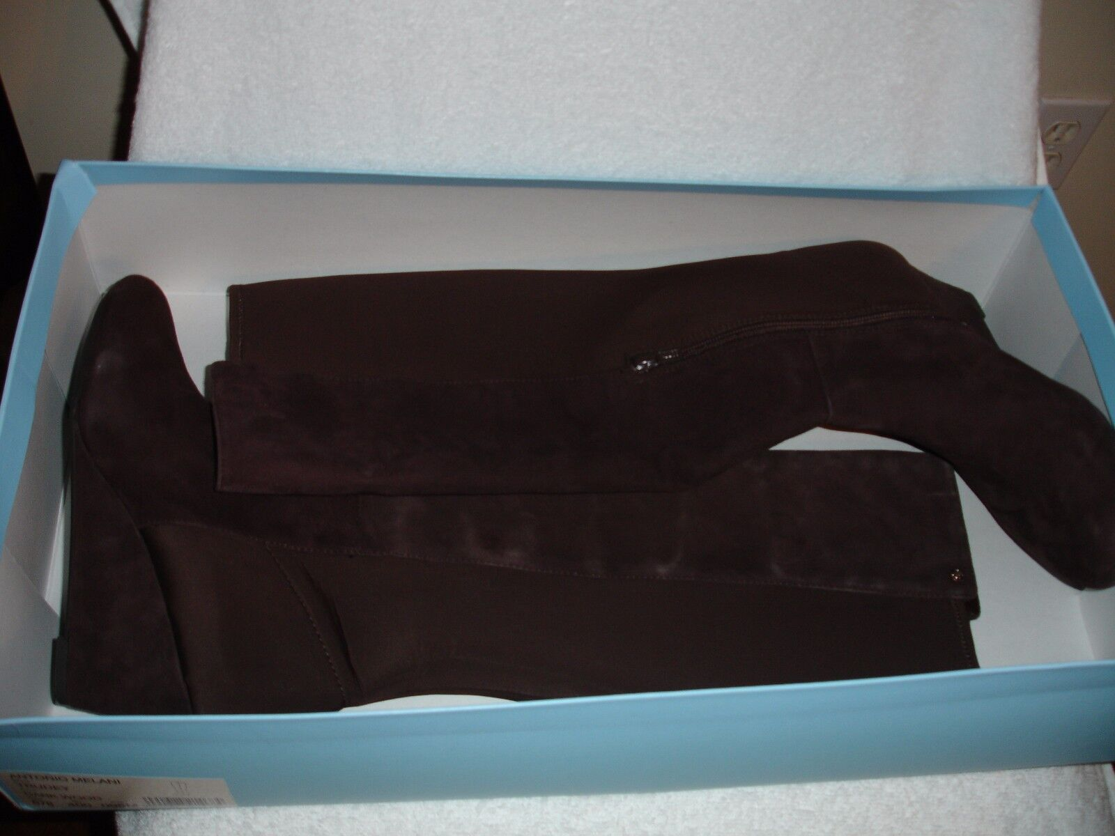 New Antonio Melani Women's Suede Dark Wood High Knee Boots Wedge Zip Shoes 9.5M