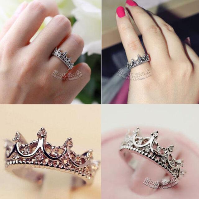 Fashion Women Rhinestone Crystal Princess Crown Silver Gold Ring Jewelry Gift