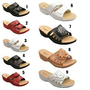 Ladies-Womens-Wedge-Heel-Slip-On-Open-Toe-Mules-Sandals-Shoes-Size-3-4-5-6-7-8
