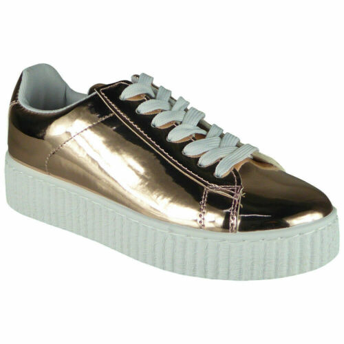 Womens Creepers Boots Ladies Goth Punk Pumps Platform Lace Up Metallic Shoe Size