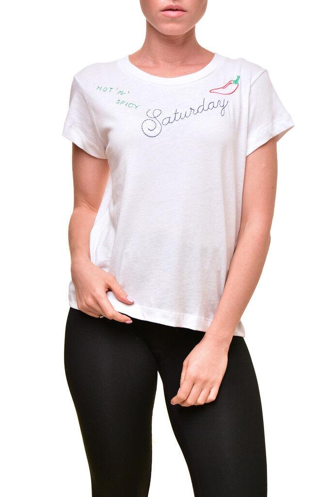 Wildfox Women's Saturday No9 Soft WRT179 76U T-Shirt Clean White XS RRP BCF89