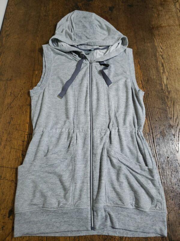 Athleta Lotus Vest Sleeveless Drawstring Hooded Pockets Athletic Gray Sz Small