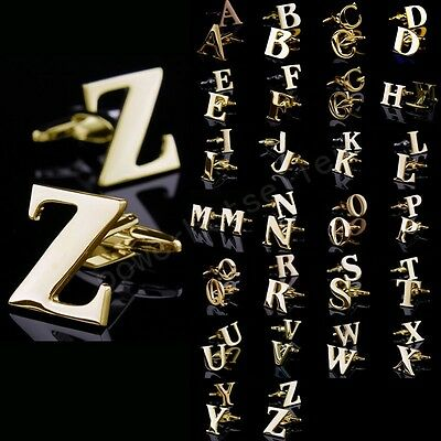 Lot Novelty Initials Letters Stainless Steel Gold Mens Wedding Gift Cufflinks