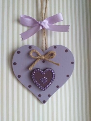 Lilac /& Purple Wooden Hanging Heart Decoration Ornament Any Colours