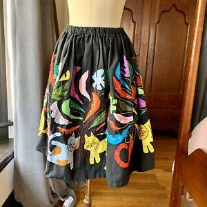 Vintage-1960-039-s-Cat-Kitten-Boho-Hand-Made-Circle-Skirt-S-M