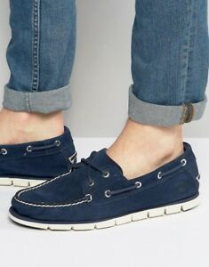 Details zu $100 size 8.5 Timberland Tidelands 2 Eye Blue Suede Loafers Mens Boat Shoes