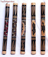 Authentic Bamboo Rain-Stick 60cm w Reptile Handcarving Dot Paintings SHIPS FREE