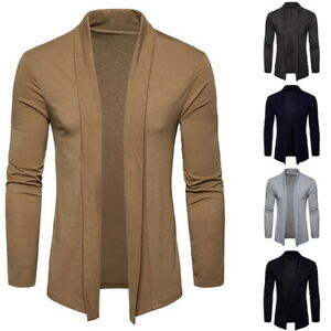 Homme-Casual-Chale-Ouvert-Avant-a-Manche-Longues-Chaud-Outwear-Pullover-Cardigan